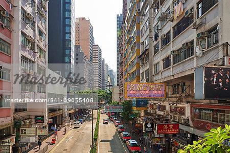 View of shopping district, Wan Chai, Hong Kong, China, Asia