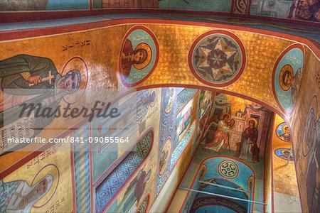 Fresco paintings, St. George Cathedral, Yuriev Monastery, UNESCO World Heritage Site, Veliky Novgorod, Novgorod Oblast, Russia, Europe