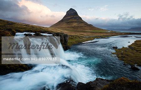 View of Kirkjufell (Church Mountain) and mountain stream, Grundafjordur, Snaefellsnes Peninsula, Iceland, Polar Regions