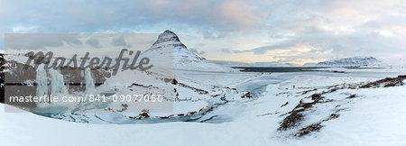 Panoramic winter view of Kirkjufell (Church Mountain), Grundafjordur, Snaefellsnes Peninsula, Iceland, Polar Regions
