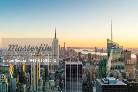Manhattan skyline and Empire State Building, sunset, New York City, United States of America, North America