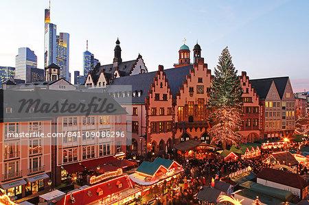 Christmas Fair on Roemerberg Square, Frankfurt am Main, Hesse, Germany, Europe