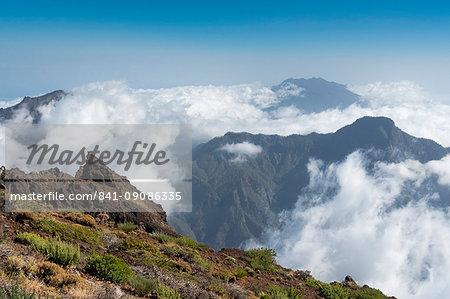 Clouds in the Caldera de Taburiente, La Palma Island, Canary Islands, Spain, Europe