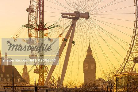Houses of Parliament, Big Ben and London Eye, London, England, United Kingdom, Europe