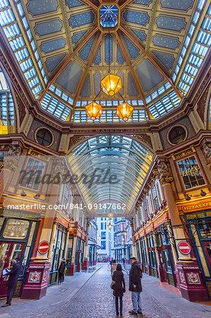 Fisheye view of interior of Leadenhall Market, The City, London, England, United Kingdom, Europe