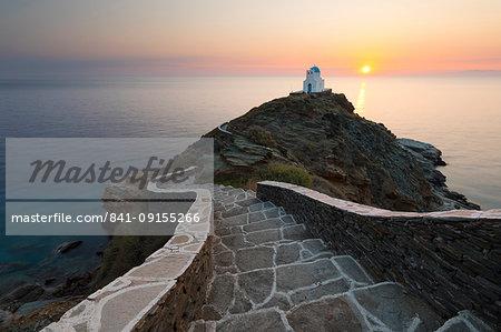 Steps leading down to Greek Orthodox chapel of Eftamartyres at dawn, Kastro, Sifnos, Cyclades, Aegean Sea, Greek Islands, Greece, Europe