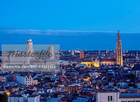 City Center Skyline at twilight, elevated view, Antwerp, Belgium, Europe