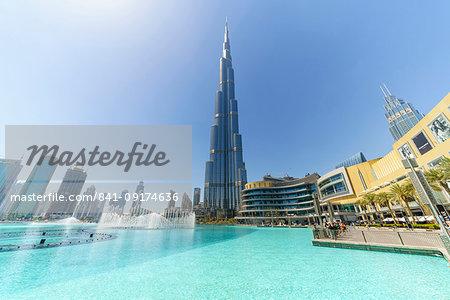 Burj Khalifa and Dubai Mall, Downtown, Dubai, United Arab Emirates, Middle East