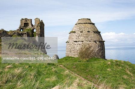 Dovecot and Dunure Castle, Ayrshire, Scotland, United Kingdom, Europe