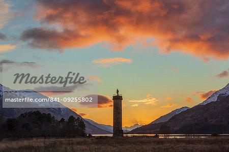 Sunset over Loch Shiel and the Glenfinnan Monument, Highland region, Scotland, United Kingdom, Europe