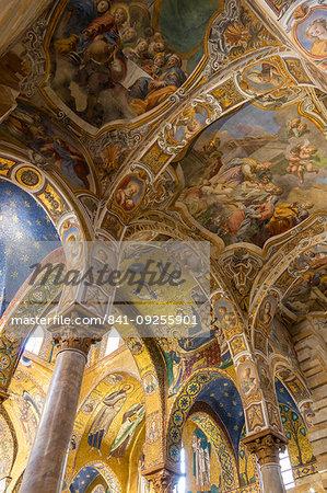 Interior of the Santa Maria dell'Ammiraglio church (also called 'La Martorana'), Palermo, Sicily, Italy, Europe