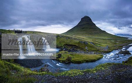 Kirkjufell (Church Mountain) and waterfall near Grundarfjordur, Snaefellsnes peninsula, Western Region (Vesturland), Iceland, Polar Regions