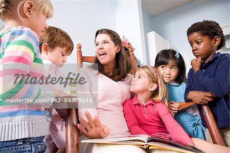 Teacher Reading Book To Multi Racial Group Of Young Preschool Children