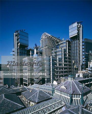 Lloyd's Building, City of London, 1986. Overall exterior. Architect: Richard Rogers Partnership