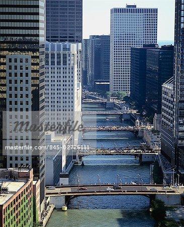 Bridges over Chicago River along Wacker Drive, Chicago.