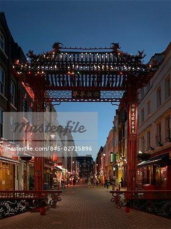 Decorative entrance gate, Chinatown and Soho, London.