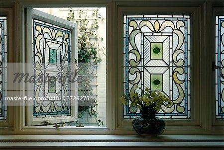 Edwardian House Stained Gl Window Stock Photo