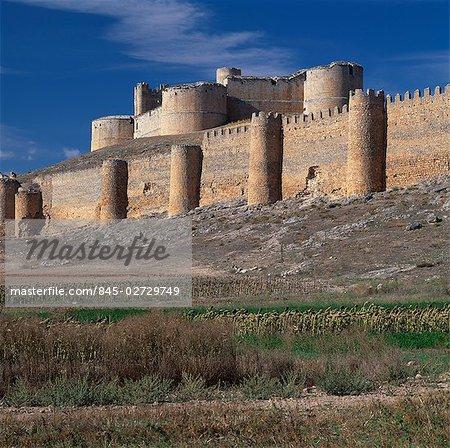 Berlanga de Duero, Soria, Castile, Spain. Keep with bulging round towers dates from the Sixteenth Century.