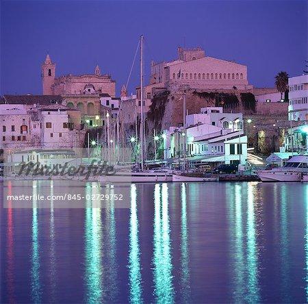 Cuitadella Harbour, Menorca. Night time shot of town