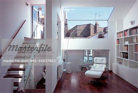Open plan attic conversion in house on Portobello Road, London, UK. Architects: Pitman Tozer Architect