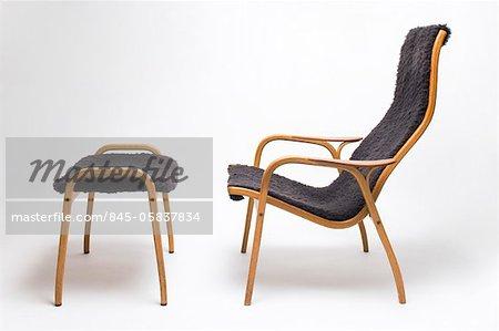 Lamino Chair And Footstool, Swedish, 1956. Designer: Yneve Ekstron   Stock  Photo