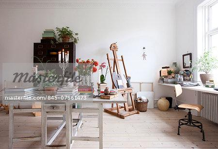 Artists studio in bohemian apartment