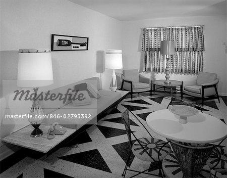 60s REC ROOM INTERIOR WITH GEOMETRIC PATTERNED LINOLEUM Stock Mesmerizing Patterned Linoleum