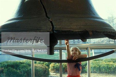LITTLE GIRL TOUCHING LIBERTY BELL PHILADELPHIA PENNSYLVANIA