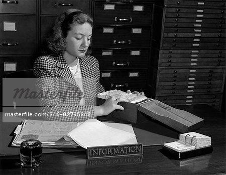 1940s WOMAN INFORMATION SECRETARY RECEPTIONIST FILE