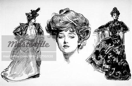 1890s 1900s THREE TURN OF THE CENTURY GIBSON GIRLS