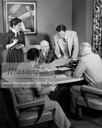 1950s MEETING DESK BUSINESS SECRETARY WOMAN MEN