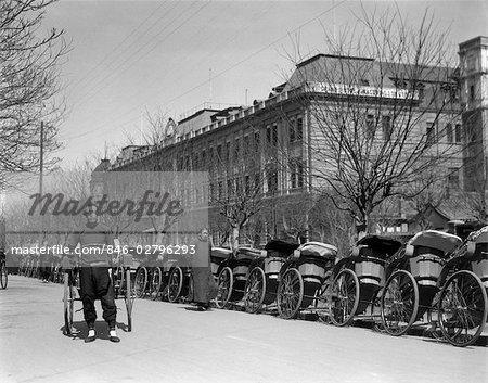 1920s 1930s LONG LINE OF RICKSHAWS RIKSHA WAITING AT GRAND HOTEL PEKING BEIJING CHINA