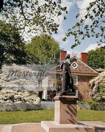 WASHINGTON'S HEADQUARTERS STATUE VALLEY FORGE PENNSYLVANIA