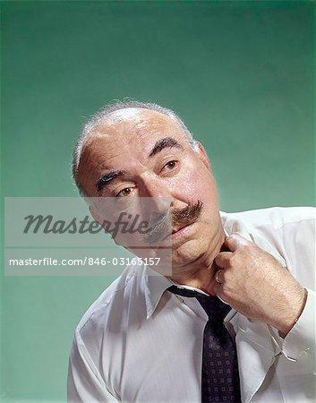 1960s BALDING ELDERLY MAN MOUSTACHE LOOSENING COLLAR SHIRT TIE WARM HOT UNCOMFORTABLE
