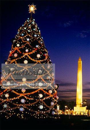 WASHINGTON DC WASHINGTON MONUMENT AND NATIONAL CHRISTMAS TREE AT NIGHT