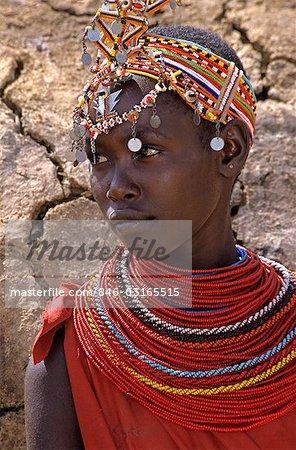 SAMBURU NATIONAL RESERVE KENYA AFRICA PORTRAIT OF SAMBURU WOMAN WEARING TRADITIONAL JEWELRY AND HEADDRESS