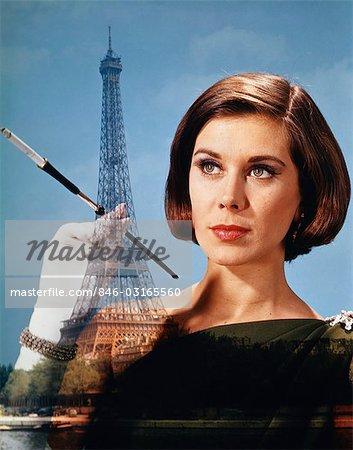 1960s 1970s COMPOSITE ELEGANT WOMAN HOLD CIGARETTE HOLDER AGAINST PARIS SCENE EIFFEL TOWER