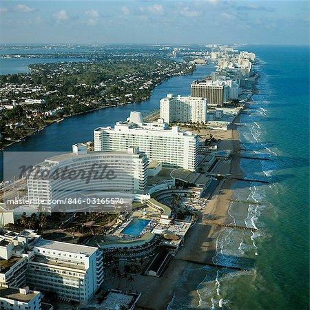 1970s Aerial View Hotel Row Miami Beach Florida Stock Photo
