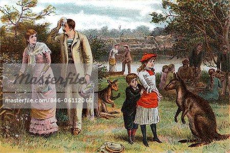 1800s 1880s 1881 SUMMER PICNIC SCENE KANGAROOS CHRISTMAS DAY IN AUSTRALIA