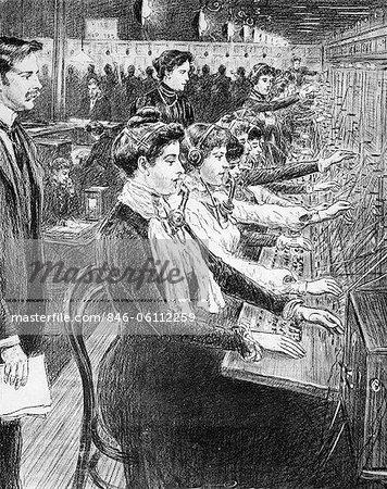 1902 ILLUSTRATION WOMEN SWITCHBOARD OPERATORS