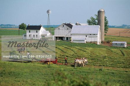 AMISH MEN WORKING ON A FARM LANCASTER COUNTY PENNSYLVANIA USA