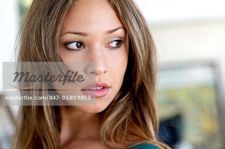 Landscape of a beautiful girl in a beachhouse