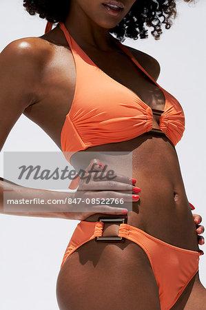 Close-up body shot of afro-caribbean woman
