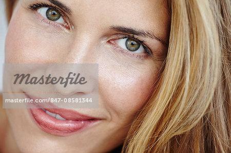 Close up portrait of beautiful blonde woman