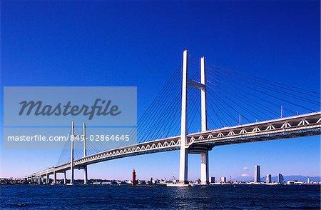 Japan, Yokohama, Yokohama bay bridge, 860 meter suspension bridge