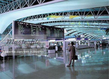Japan, Osaka, Interior view of departure hall at Osaka International Airport