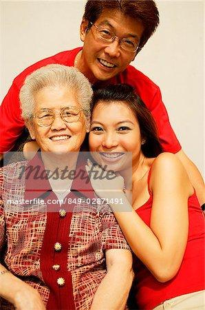 Three generation family, looking at camera, portrait