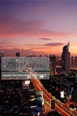 Late afternoon view of office buildings and skyscrapers along Jalan Jend Sudirman, Senayan, Jakarta