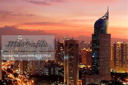 Sunset view of the CBD and skyscrapers along Jalan Jend Sudirman
