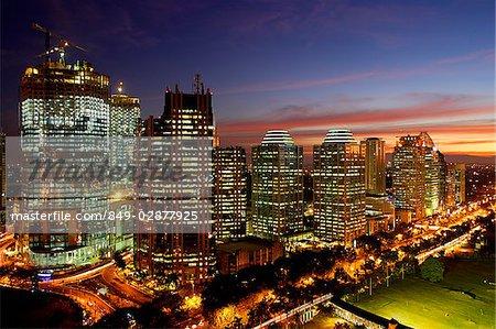 Sunset view of office buildings and construction along Jalan Jend Sudirman, Senayan, Jakarta